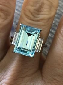 wedding photo - Blue Aquamarine Ring, Stainless Steel,  March Birthstone, Emerald 9CT, Engagement Ring