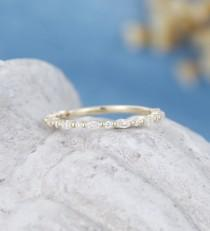 wedding photo - Moissanite wedding band women yellow gold wedding band vintage marquise cut diamond ring 3/4 Eternity band stacking matching wedding band