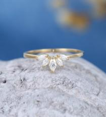 wedding photo - Curved  wedding band women Solid 14K Yellow gold diamond wedding band marquise cut Moissanite ring stacking matching anniversary gift  ring