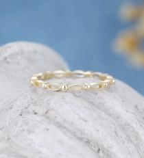 wedding photo - Solid 14k yellow gold wedding band women vintage marquise milgrain Full eternity band stacking matching ring Promise Gift for women 18k gold