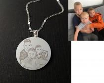 wedding photo - Custom Necklace,Cat Dog Picture Necklace Pendant,Pet Portrait Necklace,Engrave Photo Necklace,Mother Day Gift,Photo Necklace,Picture Pendant