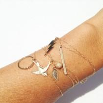 wedding photo - Charm Bracelets, 14k Gold Filled, Dainty Bracelet, Bird Bracelet, Bar Bracelet, Circle Bracelet, Lightning Bolt Bracelet, Leaf Bracelet