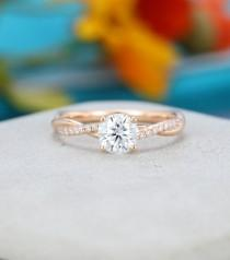 wedding photo - Moissanite engagement ring Rose gold engagement ring Vine Twisted Pave Ring with Pave Diamonds Unique Cluster wedding Bridal gift for women