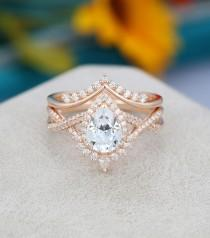 wedding photo - Pear shaped Moissanite engagement ring set Art deco Rose gold engagement ring vintage Unique Curved diamond Bridal Anniversary gift for her