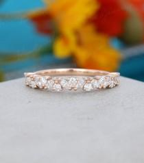 wedding photo - Rose gold wedding band women Half eternity Marquise cut Moissanite wedding band vintage Matching Unique Bridal Stacking Promise gift for her