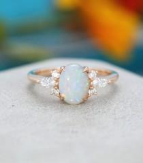 wedding photo - Oval Opal engagement ring Rose gold Unique Cluster engagement ring vintage Marquise diamond wedding Bridal Anniversary gift for women