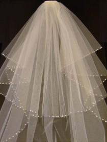wedding photo - Bridal Veil Wedding Veil 2 Tier Shoulder-Cathedral length SHIMMERY White / Ivory CUT Edge.Pearls or Diamonte edge  w detachable comb & Loops