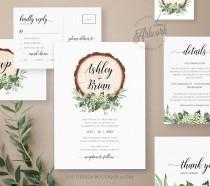 wedding photo - Rustic Greenery Wedding Invitation Set Printable Template, Boho Eucalyptus Baby's Breath, Wood Country Barn, 100% Editable, Download DIY 018