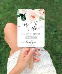 wedding photo - Floral Wedding Program Fan - Printable Program Fan Template - Printable Wedding Fan - Ceremony Programs - Wedding Programs - Blushing Blooms