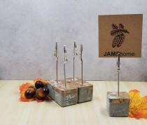 wedding photo - Concrete Cubed w/ Gold Flecks Place Card, Place Holder, Table Setting, Picture Holder