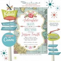 wedding photo - Adventure Awaits Bridal Shower Invitation, BOHO Rehearsal Dinner Engagement Party or edit for ANY event