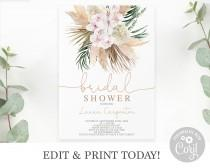 wedding photo - Boho chic Bridal Shower Invitation Instant Download editable Template, dried tropical leaves Bohemian Bridal Shower invite