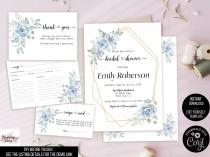 wedding photo - Dusty blue Bridal shower Invitation set , Blue floral bridal shower Invite, Blue rose bridal shower invitation bundle, Instant Download