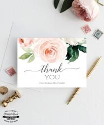 wedding photo - Printable Bridal Shower Thank You Cards - Folded Thank You Card - Personalized Thank You - Wedding Shower - Future Mrs. - Blushing Blooms