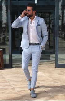 wedding photo - Men Suits, Wedding Suits, 2 Piece Groom Wear, Light Blue One Button Body Fit Suits,