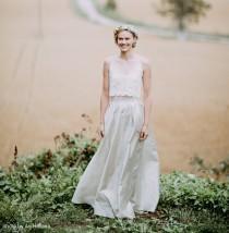 wedding photo - two piece wedding dress, 2 piece wedding dress, wedding separates, wedding crop top and wedding skirt, crop top wedding dress, bridal top