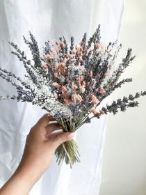 wedding photo - Tenderness Peach and Pink Baby's Breath Flowers ,Million Stars ,Dried Lavender Bunch Bouquet, Dried Centerpiece, Bridal Lavender Bouquet