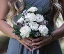 wedding photo - Frosted Pinecone Boho Bridesmaid Bouquet -Keepsake Bridesmaid Bouquet