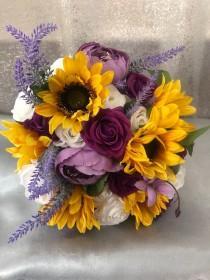 wedding photo - Purple sunflower bouquet, Purple roses Bride bouquet, Bridesmaids bouquet, Summer Wedding bouquet, autumn bouquet