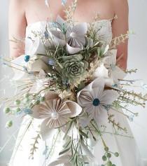 wedding photo - Origami Star Flower & Silk Flower Foliage Rustic Bridal Bouquet