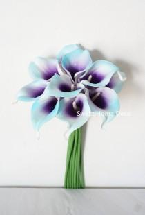 "wedding photo - JennysFlowerShop Latex Real Touch 15"" Artificial Calla Lily 10 Stems Flower Bouquet for Home/ Wedding Blue/Purple"