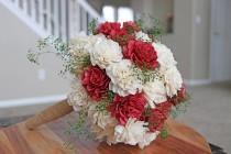 wedding photo - Red and Cream Sola Wood Flower Dahlia Wedding Bouquet - Artificial Flowers, Custom, Gift, Bride, Bridesmaid, Perennial Posy