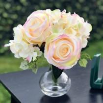 wedding photo - Artifical Rose and Hydrangea Flower Bridal Bouquet in Clear Glass Vase Home Wedding Decor Centerpieces