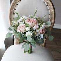 wedding photo - Dusty Pink Bridal Bouquet, Classic Wedding Rose Bouquet, Rustic Boho Flower Bouquet,  Design in Rose