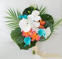wedding photo - Wedding Bouquet, Wedding Flowers, Plumeria Bouquet, each Wedding Bouquet, Tropical Bouquet, Coral, Turquoise, Teal, Callas Plumerias Bouquet