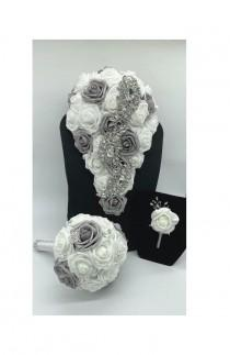 wedding photo - Cascading l Wedding Flowers l Real touch Roses l Brooch Bouquet l Bridal Bridesmaids Waterfall l Silver l Rose Gold Brooches l Quinceanera
