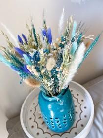 wedding photo - Blue Turquoise Dried Flowers bundle bouquet, Bridal Lavender Bouquet, Dried centerpiece