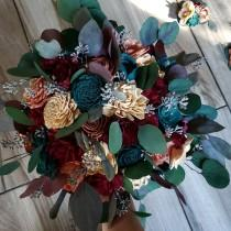 wedding photo - Teal burgundy rose gold and champagne bouquet, sola wood flowers