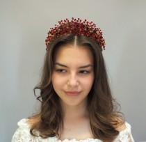wedding photo - Red Tiara, Hair Crown, Tiara, Hair band, Red Diadema, Crystal Bridesmaid Tiara, Crystal Crown, Bridal Hair Accessory, Red Headpiece