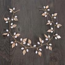 wedding photo - Handmade Gold Leaf & Faux Pearl Bridal Hair Vine