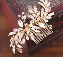 wedding photo - GOLD,Bridal Comb, Gold bridal comb, Leaf, Rhinestone, Pearl, Wedding comb, Bridal hair accessories, Wedding, hair accessories