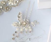 wedding photo - Brooke Silver Bridal Flower Hair Pins-Wedding Floral Hair Pins-Silver Bridesmaid Hair Accessories-Wedding Bridal Hair Jewelry-Flower HairPin