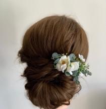 wedding photo - Artificial Ivory Floral Hair Clip-Bridal Flower Head Piece-Bridal Floral Hair Barrette-Bridesmaid Hair accessory-Floral Hair Clip