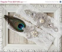 wedding photo - Wedding garter set - Peacock Garter Set w/Rhinestones and Pearls, Bridal garter, Garter belt, prom garter, bridal shower gift for her