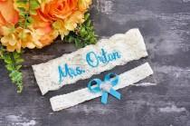 wedding photo - Malibu Blue Wedding Garter Belt Personalized Garter Non Slip Your Are Next