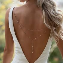 wedding photo - Back Jewelry Clip, Y Lariat Back Necklace Clip on, Bridal Jewelry, Backdrop Necklace, Wedding NBC053
