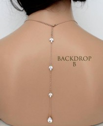 wedding photo - Bridal backdrop Back drop addition Add a backdrop Back necklace Back jewelry Rose gold backdrop Long backdrop Simple backdrop necklace