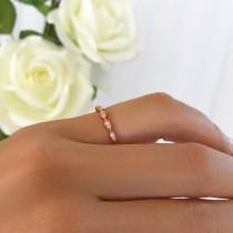 wedding photo - Delicate Art Deco Wedding Band, 1.5mm Stacking Layering Ring, Engagement Ring, Man Made Diamond Simulants, Sterling Silver, Rose Gold Plated