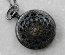 wedding photo - Wind Up Pocket Watch in Gunmetal