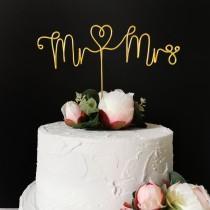 wedding photo - Mr and Mrs Cake Topper - Wire Cake Topper - Wedding Cake Topper - Wedding Decor - Minimalist - Elegant - Black Silver Rose Gold Copper
