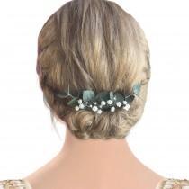 wedding photo - Bridal hair piece eucalyptus greenery babys breath comb