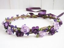 wedding photo - Plum Floral Crown, Two Flower Color Headband, Purple Floral Crown, Lavender Wedding Headband, Bridesmaid Flower Crown, Flower Girls Headband