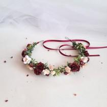 wedding photo - Burgundy and blush flower crown, Flower crown wedding, Wedding crown dusty pink, Burgundy bridal wreath, Bridal flower crown