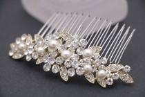 wedding photo - wedding hair clip on side wedding hair comb gold Wedding comb Rhinestone hair pins Small hair comb Bridal hair comb Pearl hair accessories