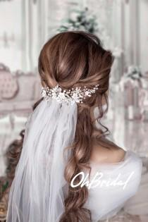 wedding photo - Wedding veil comb Pearl hair comb Hair vine Wedding veil and headpiece Bridal hair piece Bridal headpiece Wedding Back Headpiece Flower