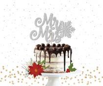 wedding photo - Glitter Mr & Mrs Snowflake Cake Topper - Cake Bunting, Winter Wedding Cake Topper, Winter Wedding, Snowflake Wedding, Christmas Wedding